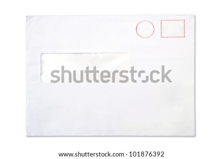 empty blank Envelope with a window, isolated on white - stock photo