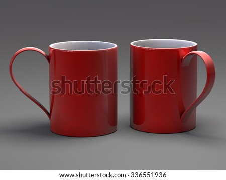 Empty blank mugfor coffee or tea isolated on gray background 3D rendering