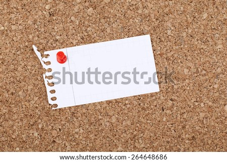 Empty Blank Note Paper on Cork Bulletin Board - stock photo