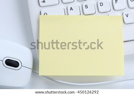 Empty blank notepaper note notes business concept copyspace copy space information message office computer keyboard - stock photo