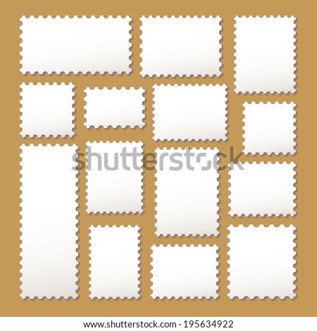 Empty blank postage stamps different size in white color isolated on beige background with shadows. Raster copy - stock photo