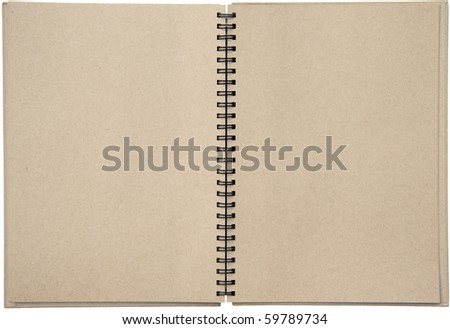 Empty blank two-page spread of a spiral bound note pad binder with tinted paper isolated on white background. - stock photo