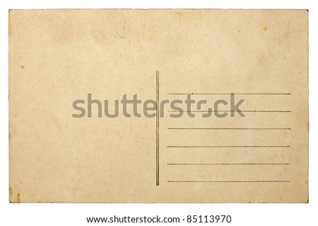 Empty blank vintage post card, 1900's - stock photo