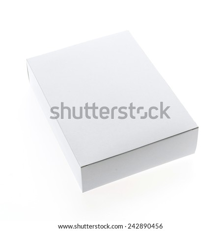 Empty blank white box isolated on white background