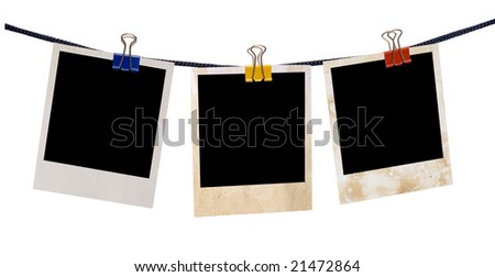 empty blanks on rope isolated on white - stock photo