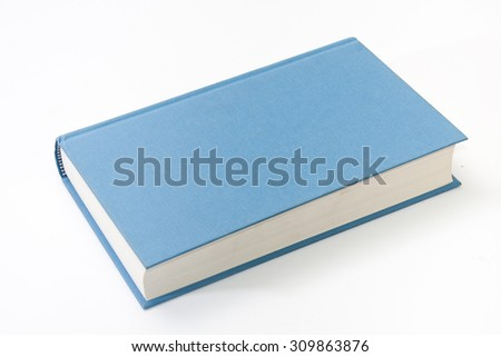 Empty blue book cover on the white background. - stock photo