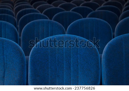 empty blue cinema or theater seats - stock photo