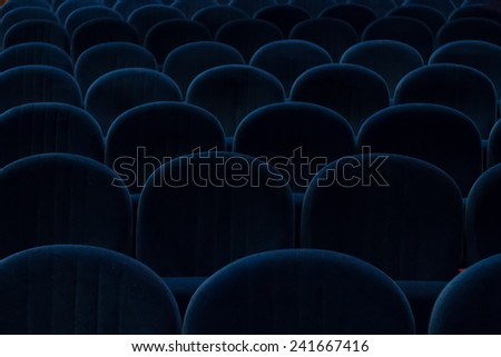 empty blue cinema or theater seats - stock photo