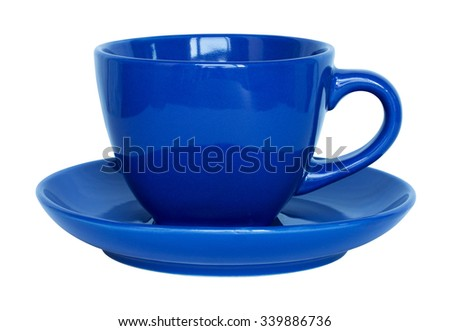 empty blue cup and saucer isolated on white - stock photo
