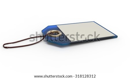 Empty blue label or price tag with cord, isolated on white background