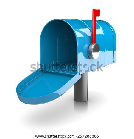 Empty Blue Mailbox on White Background 3D Illustration - stock photo