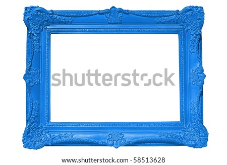 Empty Blue Picture Frame - stock photo