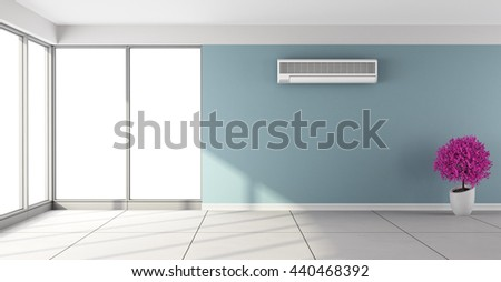 Empty blue room with air conditioner and large windows - 3d rendering - stock photo