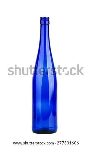 Empty blue wine bottle isolated on white - stock photo