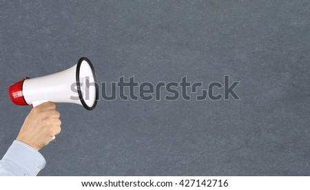 Empty board blank business concept copyspace copy space information message hand with megaphone - stock photo