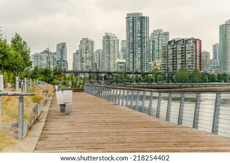 Empty Boardwalk in Downtown Vancouver on a Cloudy Day