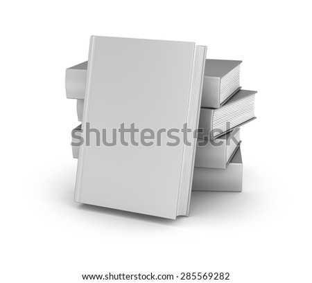 Empty book cover collection over white - stock photo