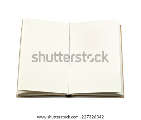 empty book page on a white background - stock photo