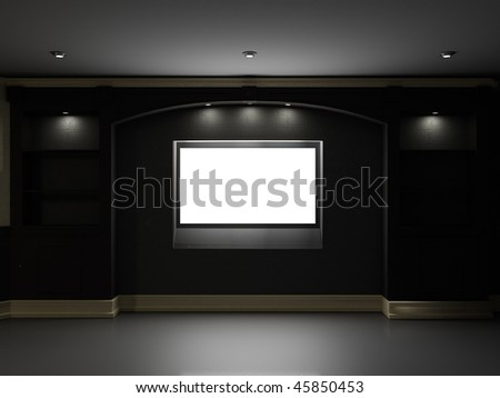 Empty bookcase with illuminated LCD TV on the wall - stock photo