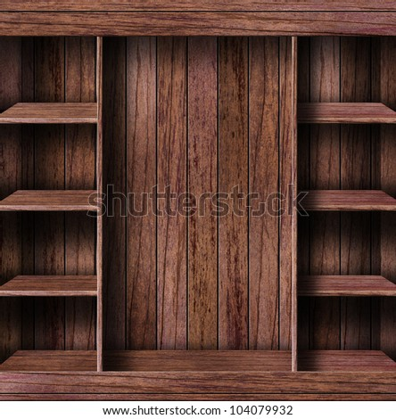 Empty bookshelf. grunge industrial interior Uneven diffuse lighting version. Design component