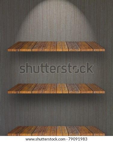 Empty bookshelf on the wall - stock photo