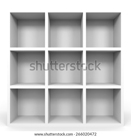 Empty bookshelf on white background. 3D illustration.