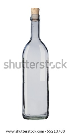 Empty bottle isolated, white background, clipping path. - stock photo