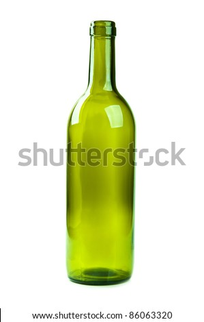empty bottle of wine isolated on a white background - stock photo