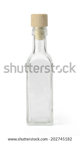Empty bottle with cork cap isolated on white background with clipping path - stock photo