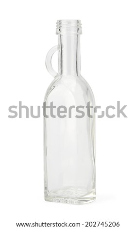Empty bottle with cork cap isolated on white background with clipping path. - stock photo