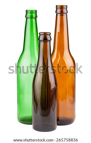 Empty bottles without labels isolated on white background - stock photo