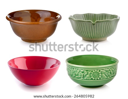 Empty bowl isolated on a white background - stock photo