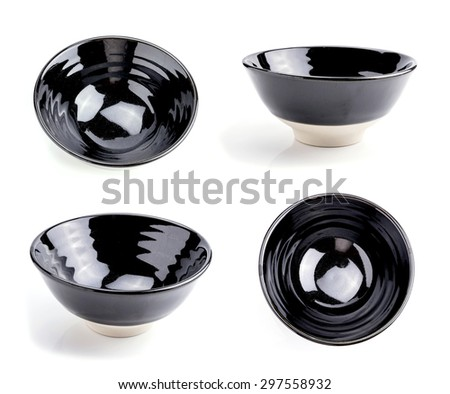 empty bowls, one point of view on white background - stock photo