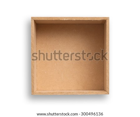 Empty box isolated, clipping path excludes the shadow.