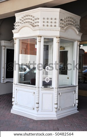 Empty box office or ticket booth at movie theater. - stock photo