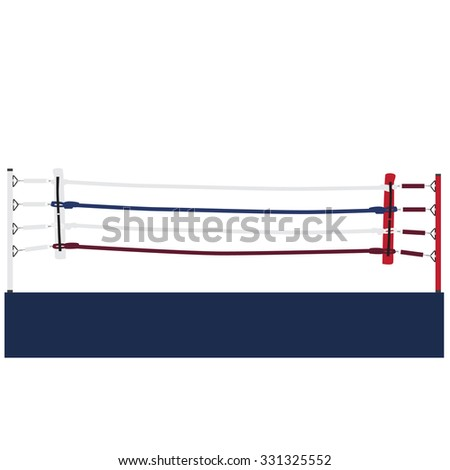 Empty boxing ring raster isolated, boxing ring ropes, platform, training