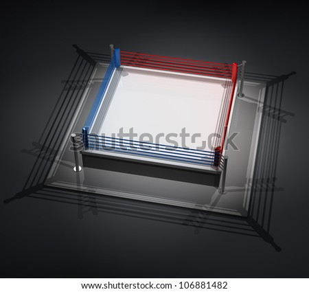 empty Boxing Ring Render 3d high resolution - stock photo