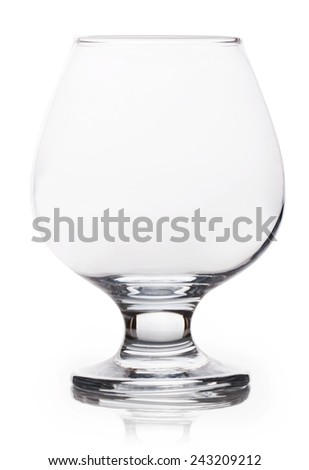 Empty brandy glass isolated on white background - stock photo
