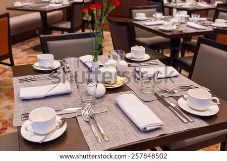 Empty breakfast table  - stock photo