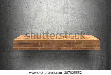empty brick shelves top Ready for product display montage; cement shelves and gray cement background. - stock photo