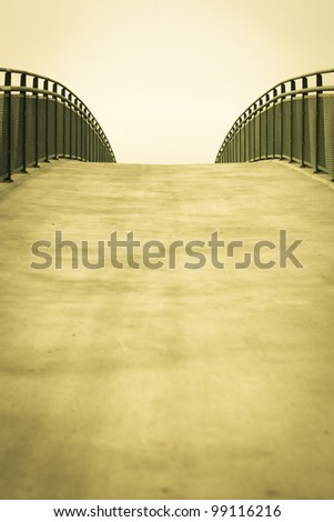 Empty bridge/walkway background with copy space
