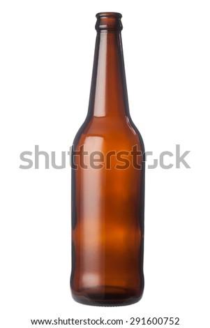 Empty brown beer bottle - stock photo