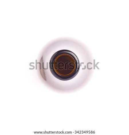 Empty brown beer glass bottle isolated over white background - stock photo