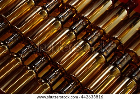 Empty brown bottles in a row
