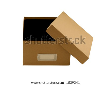 Empty brown box with lid leaning on the side - stock photo
