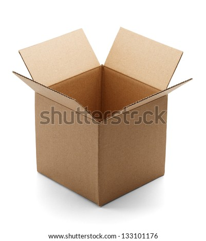 Empty brown cardboard box open and isolated on a white background. - stock photo