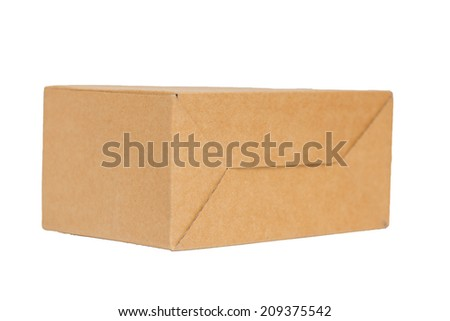 Empty brown paper box isolate on white background