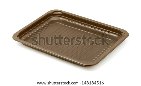 Empty brown plastic packaging food tray isolated on white - stock photo