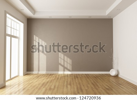 empty brown room with window and parquet - rendering - stock photo