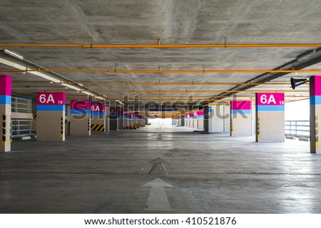Empty building car parking - stock photo